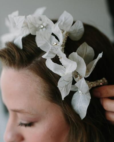 bougainvillea flower headpiece by Tami Bar-Lev