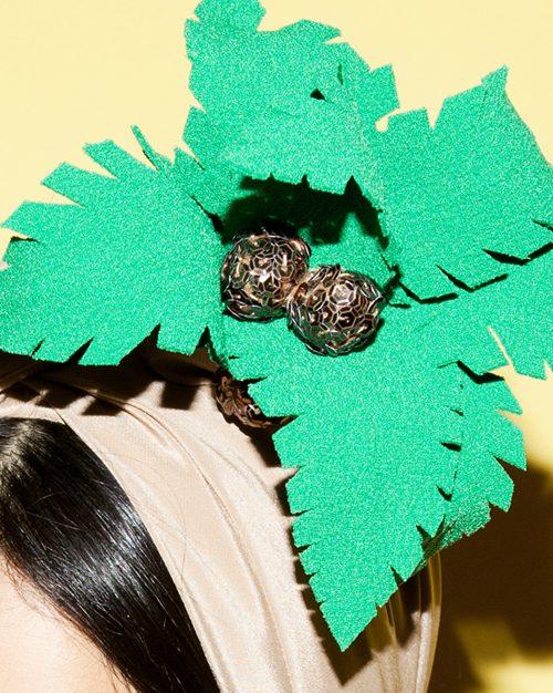 cocounut Turban headpiece by Tami Bar-Lev