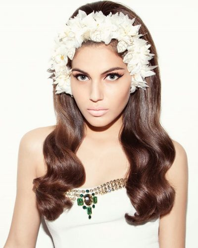 Shlomit Malka wearing Tami Bar-Lev headpiece