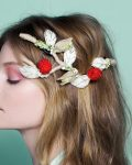raspberry and pistachio tart headpiece by Tami Bar-Lev