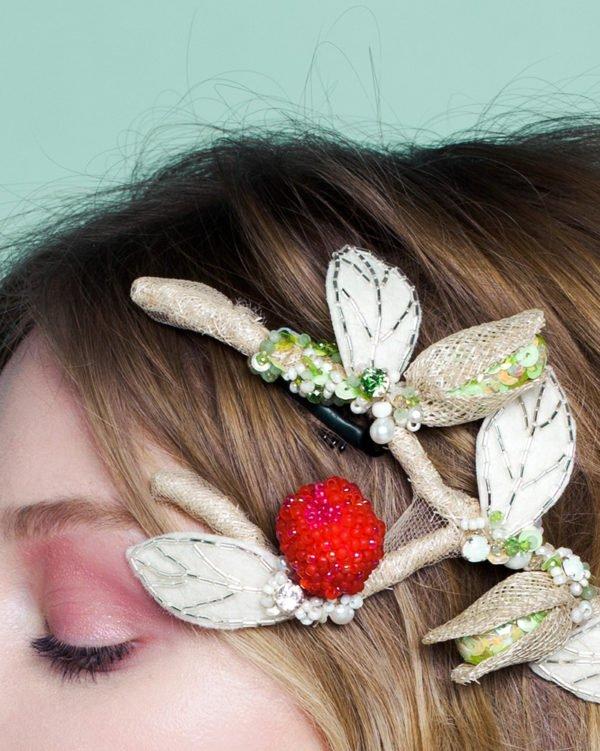 raspberry and pistachio tart headpiece by Tami Bar-Lev