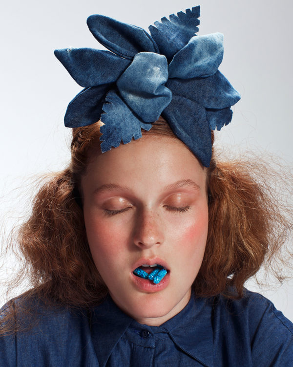 Denim 'TIKI' Flower Piece - Headband - Headpiece by Tami Bar-Lev