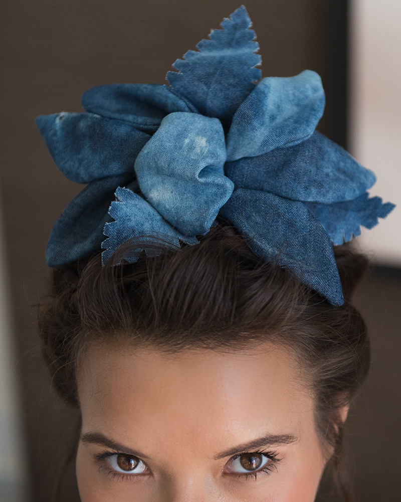 Denim 'TIKI' Flower- Headpiece by Tami Bar-Lev