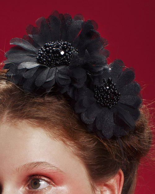 'Black 'Martyr' Gerbera Duet' Headpiece by Tami Bar-Lev