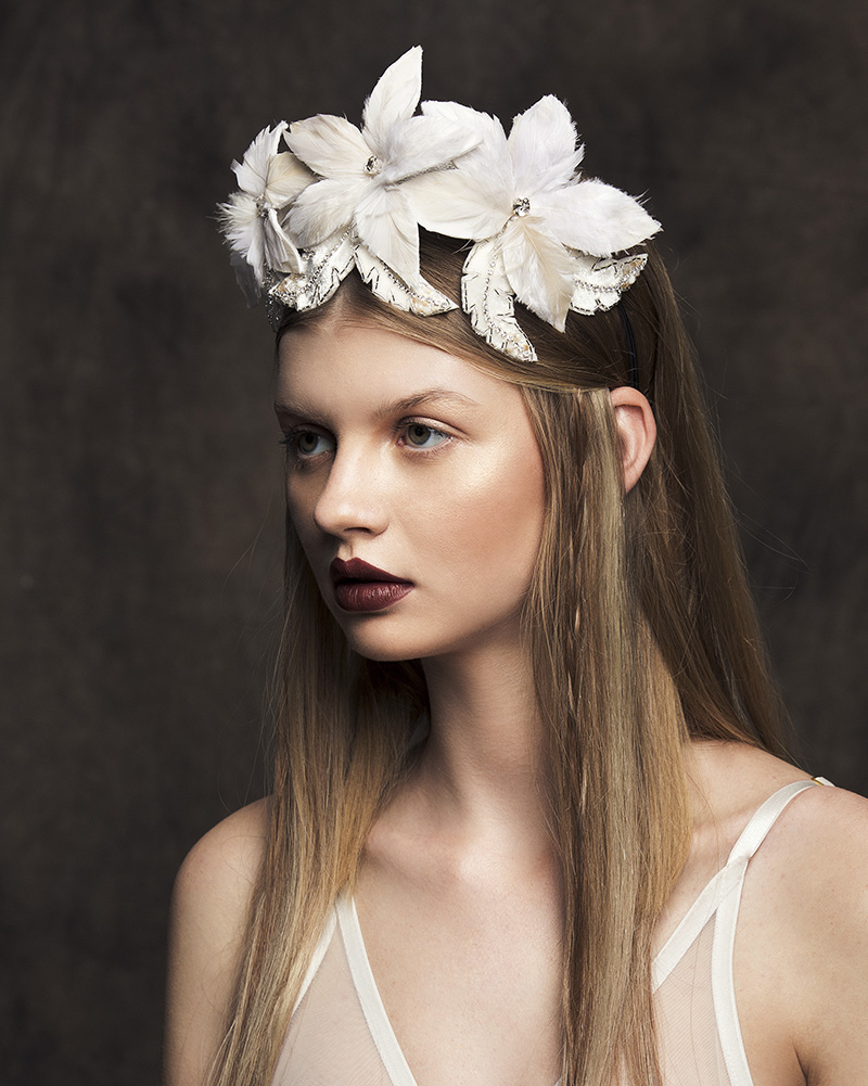 'Alula' - Flower and feather bridal headpiece by Tami Bar-lev