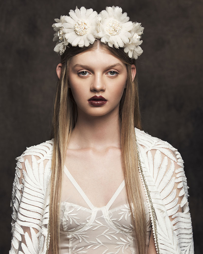 'Gerbera' Bonnet bridal headpiece by Tami Bar-lev