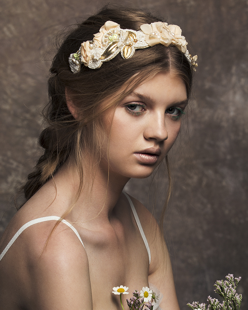 'River Gold' Tiara bridal headpiece by Tami Bar-lev