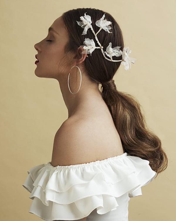 'Flirty Flowers' Back piece Bridal Headpiece by Tami Bar- Lev