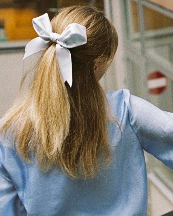 Maxi powder blue ribbon Bridal Headpiece by Tami Bar- Lev