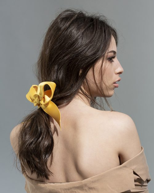 yellow bow - ribbon Bridal Headpiece by Tami Bar- Lev