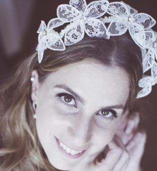 real wedding real bride- Lace Luxury Bridal Headpiece bridal headpiece by Tami Bar-lev