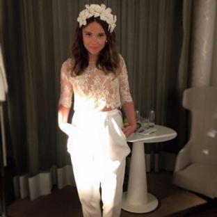real wedding real bride- Flower Luxury Bridal Headpiece bridal headpiece by Tami Bar-levdress by Lihi Hod