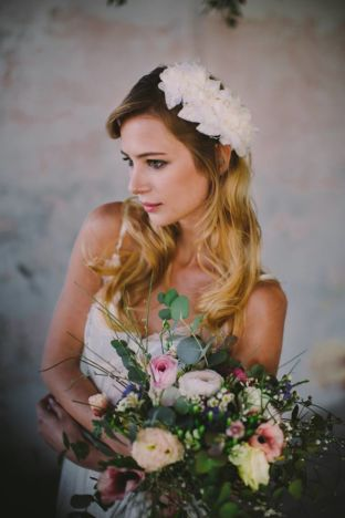 real wedding real bride- Flower Boho- Chic Bridal Headpiece bridal headpiece by Tami Bar-lev