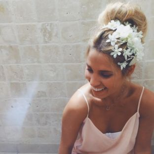real wedding real bride- Flower Boho- Chic Bridal Headpiece bridal headpiece by Tami Bar-lev