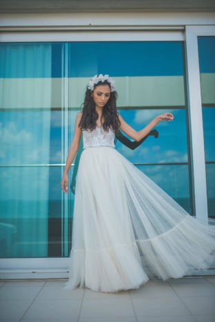 real wedding real bride- Flower Luxury Bridal Headpiece bridal headpiece by Tami Bar-lev dress by Lihi Hod