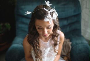 real wedding real bride- Butterfly Bridal Headpiece bridal headpiece by Tami Bar-lev