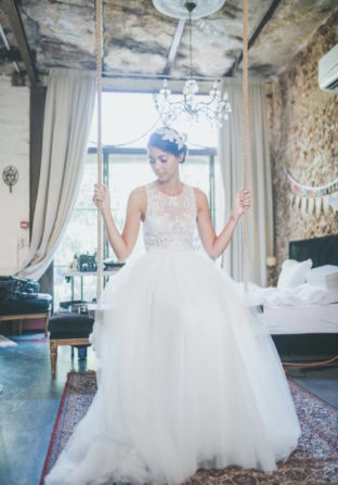 real wedding real bride- Butterfly Bridal Headpiece bridal headpiece by Tami Bar-levdress by Lihi Hod