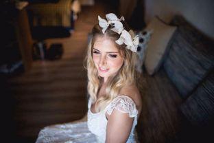 real wedding real bride- Flower Bridal Headpiece bridal headpiece by Tami Bar-lev