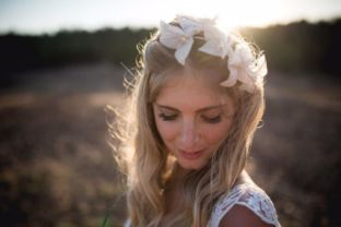 real wedding real bride- Flower Boho- Chic Bridal Headpiece bridal headpiece by Tami Bar-levdress by Lihi Hod
