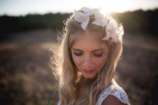 real wedding real bride- Flower Boho- Chic Bridal Headpiece bridal headpiece by Tami Bar-levdress by Lihi Hod