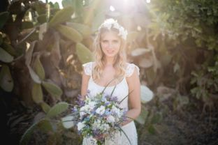 real wedding real bride- Flower Bridal Headpiece bridal headpiece by Tami Bar-levdress by Lihi Hod