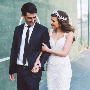 real wedding real bride- Luxury Crystal Tiara Bridal Headpiece bridal headpiece by Tami Bar-levdress by Lihi Hod