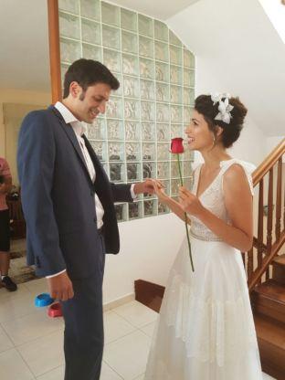 real wedding real bride-Flower Bridal Headpiece bridal headpiece by Tami Bar-lev