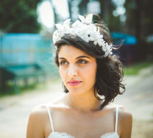 real wedding real bride- Flower Luxury Bridal Headpiece bridal headpiece by Tami Bar-lev