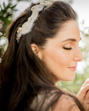 real wedding real bride- Bridal Tiara Headpiece bridal headpiece by Tami Bar-lev