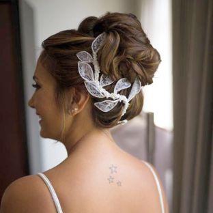 real wedding real bride- Lace Bridal Headpiece bridal headpiece by Tami Bar-lev