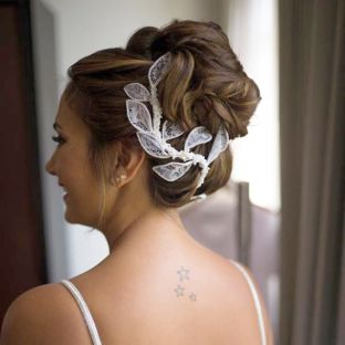 real wedding real bride- Lace Bridal Headpiece bridal headpiece by Tami Bar-lev