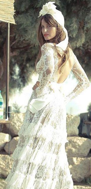 White Tiki Turban and Lihi Hod Dress headpiece by Tami Bar- Lev